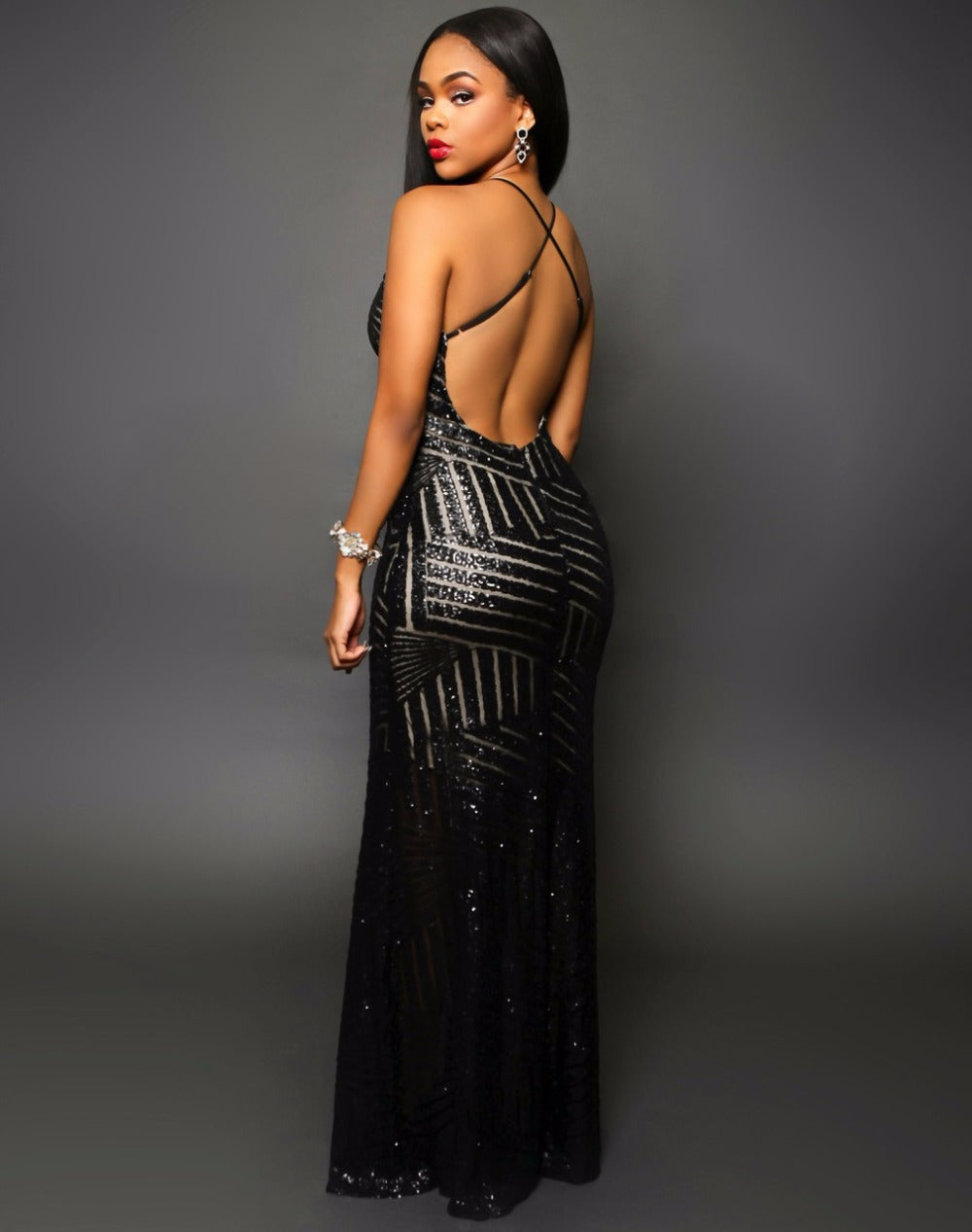 Glamorous Evening Dresses Black Sequins Gown
