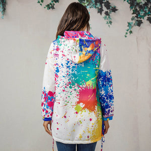 Preppy Style Sporty Hooded Jacket Tie-Dyeing Print Women Outwear