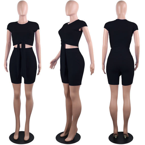 Knit 2 Piece Women Playsuit Set Her Fashion Sexy Club Summer Outfit