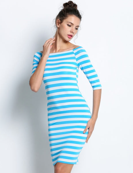 Half Sleeve Strapless Stripe Bodycon Her Midi Party Pencil Dresses