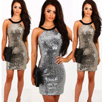 Halter Neck Sliver Sequin Her Fashion Bodycon Women's Party Dress