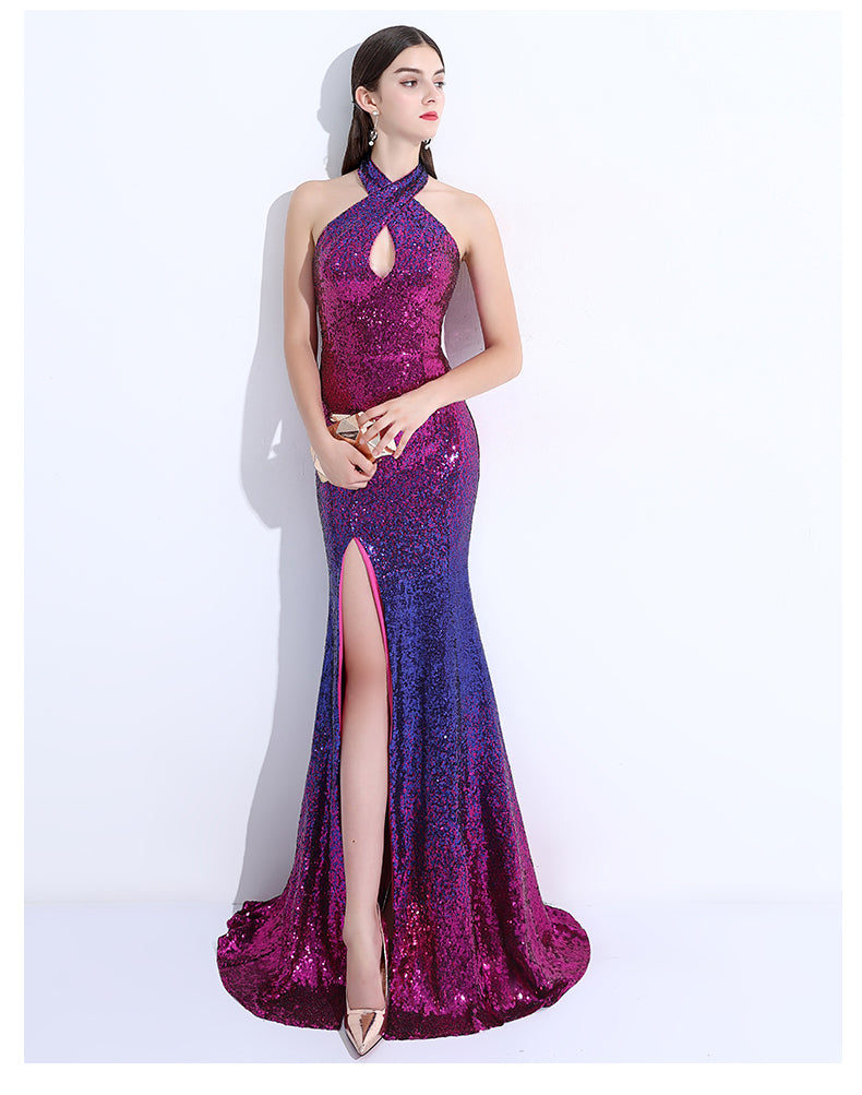 Sleeveless Sequined Vintage Halter Design Train Mermaid Prom Dress