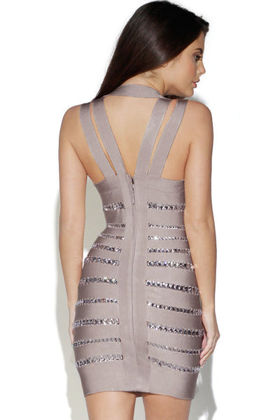 Halter V-Collar Beaded Bodycon Patchwork Rayon Bandage Dress 2015