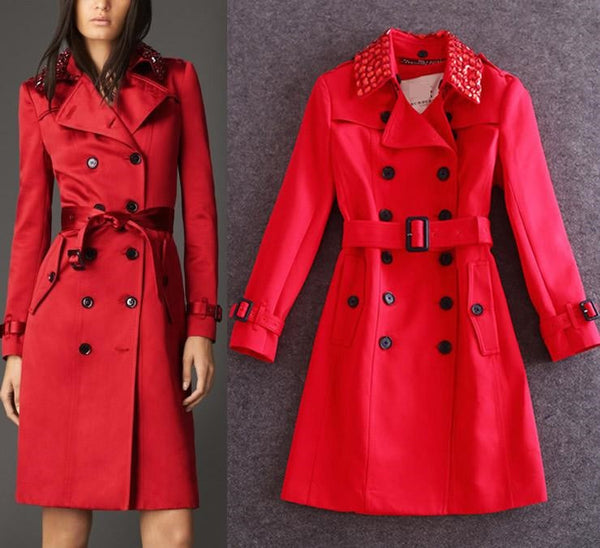 "Heavy Beaded Women coat ""Elegant Essence"" Slim Long Trench Coat"