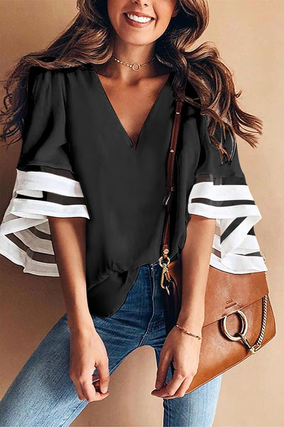 HerFashion Bell Sleeve Black Contrast Color VNeck Chic Loose Blouse