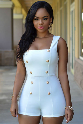HerFashion Gold Buttons Signature Series White Romper