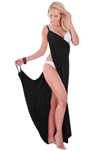 HerFashion Greek Goddess Spaghetti Strap Black Modish Sarong Beachwear