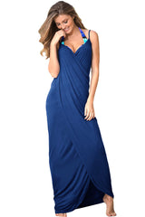 HerFashion Greek Goddess Spaghetti Strap Blue Modish Sarong Beachwear