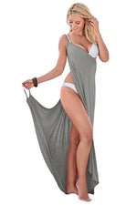HerFashion Greek Goddess Spaghetti Strap Grey Modish Sarong Beachwear