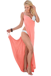 HerFashion Greek Goddess Spaghetti Strap Pink Modish Sarong Beachwear