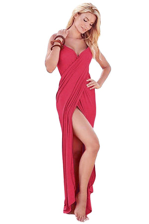 HerFashion Greek Goddess Spaghetti Strap Red Modish Sarong Beachwear