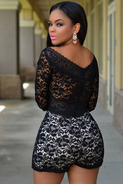 HerFashion Lace Overlay Off-shoulder Romper