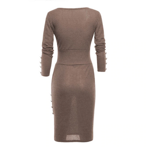 Her Ribbed Knit Wrap Bodycon Party Trendsetter Sweater Womens Dress