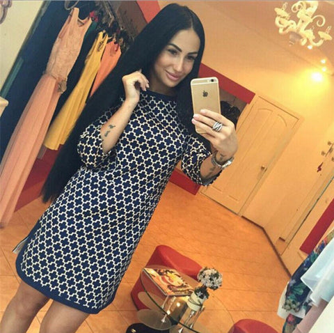 Her 3/4 Sleeves Round Neck Slim Plaid Chic Printed Dresses