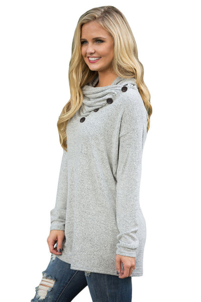 Her Adorable Grey Buttoned Cowl Neck Casual Loose Fit Long Top