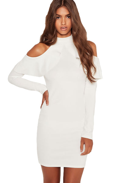 3c9279d7e7 Her Adorable High Neck White Frill Open Shoulder Long Sleeve Dress ...