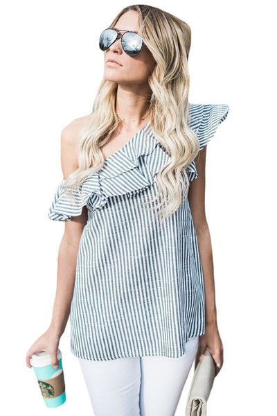 Her Adorable Striped One Sided Ruffle Top