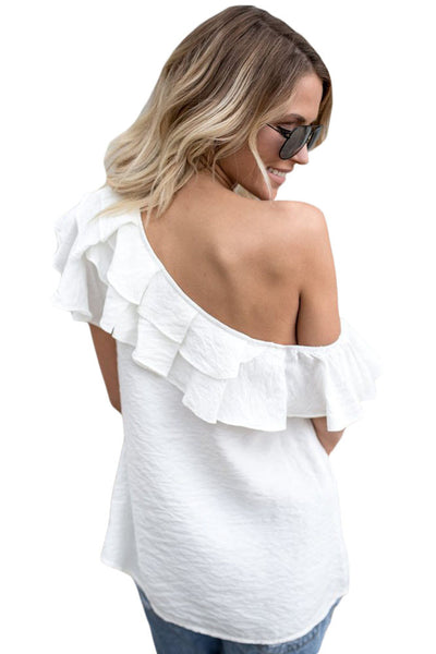 Her Adorable White One Sided Ruffle Top