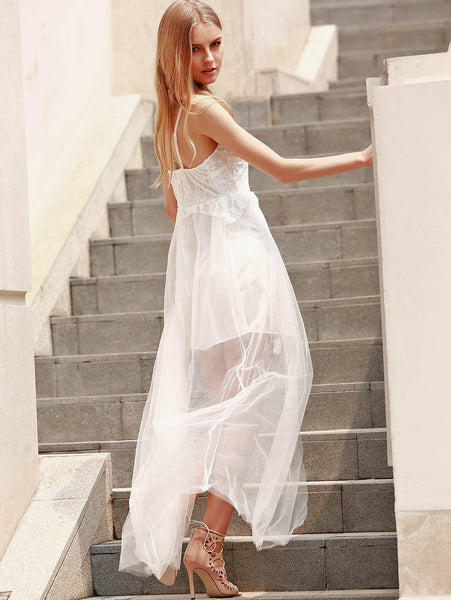 Her Alluring Spaghetti Strap Sleeveless High Slit Elegant Women Dress