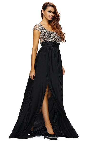 Her Amazing Gold Lace Overlay Black Slit Chic Dress Maxi Evening Gown