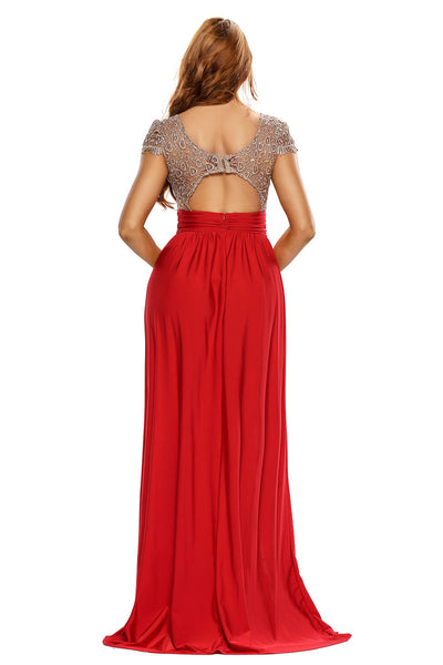 Her Amazing Gold Lace Overlay Red Slit Chic Dress Maxi Evening Gown