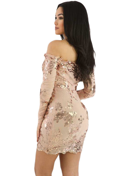 Her Apricot Scalloped Trim Off Shoulder Sequin Floral Women Mini Dress