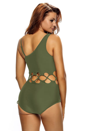 Her Army Green Lace Up Cutout Chic Monokini One Piece Swimsuit