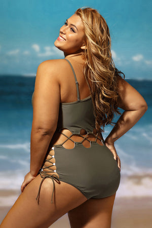 Her Army Green Lace Up Cutout Chic Monokini OnePiece Plussize Swimsuit