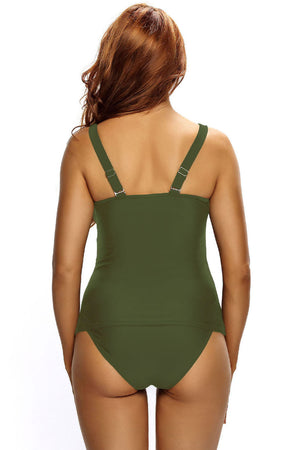 Her Army Green Ruched Tank Top Tankini Set Swimwear