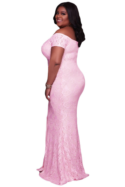 Her BIG'n'BEAUTIFUL Pink Plus Size Off Shoulder Elegant Lace Gown