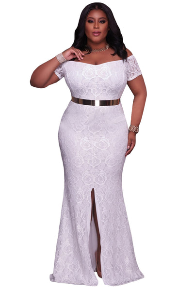 Her BIG\'n\'BEAUTIFUL White Plus Size Off Shoulder Elegant Lace Gown