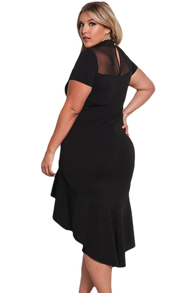 Her BIG'n'MOD Black Mesh Insert Ruffled Hi-low Hem Curvy Dress
