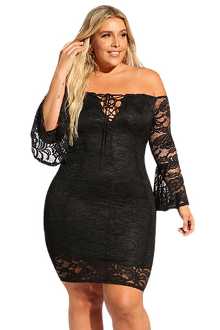 Her BIG'n'MOD Black Plus Size Lace Bell Sleeve Bodycon Dress