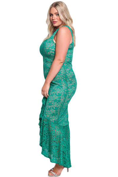 Her BIG'n'MOD Emerald Plus Size Floral Lace Ruffle Mermaid Maxi Gown