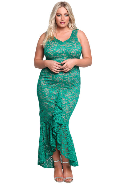 Her BIG'n'MOD Black Plus Size Floral Lace Ruffle Mermaid Maxi Gown