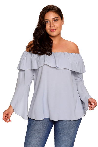 Her BIG'n'MOD Pink Plus Size Layered Off Shoulder Bell Sleeved Blouse