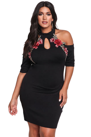 Her BIG'n'MOD Plus Size Embroidered Rose Cold Shoulder Bodycon Dress