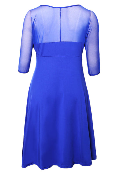Her BIG'n'MOD Royal Blue Plus Size Fishnet Neckline Dress