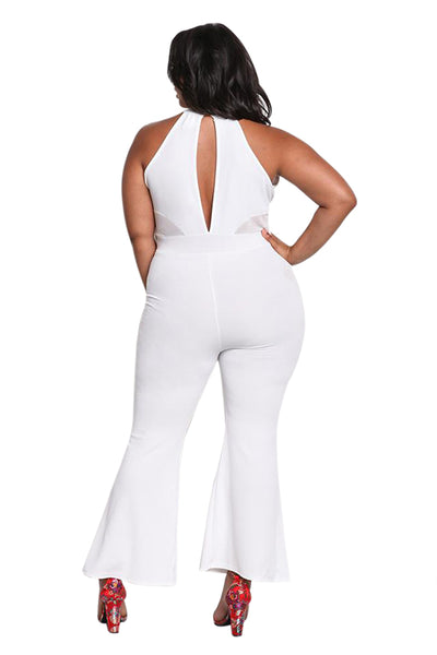 Her BIG'n'MOD Black Plus Size Cut Out Mesh Trim Flared Fashion Jumpsuit