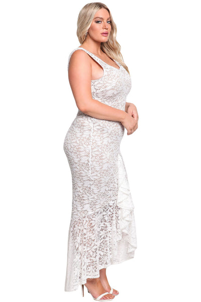 Her BIG'n'MOD White Plus Size Floral Lace Ruffle Mermaid Maxi Gown
