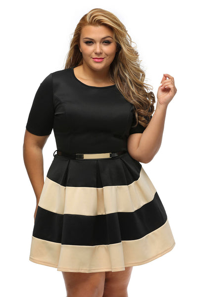 Her BIG'n'TRENDY White Bio Color Stripes Plus Size Skater Dress