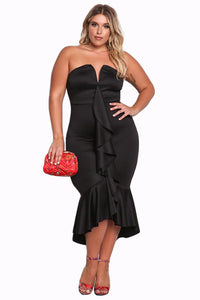 Her BIG'n'TRENDY Black PlusSize Strapless Cascading Ruffle Hi-Lo Dress