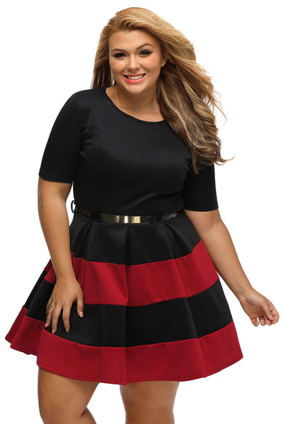 Her BIG'n'TRENDY Burgundy Bio Color Stripes Plus Size Skater Dress