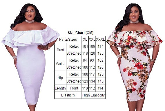 Her BIG'n'TRENDY Floral Layered Ruffle Off Shoulder Curvaceous Dress
