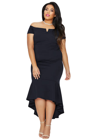 Her BIG'n'TRENDY Navy Blue Plus Size Dip Hem Fishtail Midi Dress