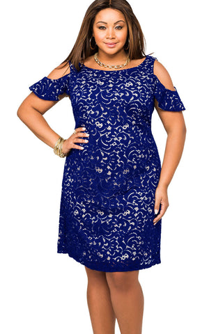 Her BIG'n'TRENDY Navy Lace Overlay Cold Shoulder Chic Plus Size Dress