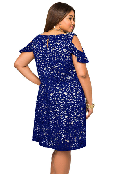 6f4d2322deb5b Her BIG n TRENDY Navy Lace Overlay Cold Shoulder Chic Plus Size Dress