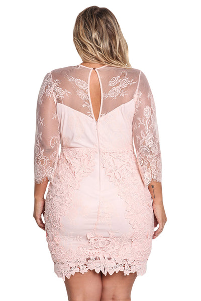 Her BIG'n'TRENDY White Plus Size Floral Lace Embroidered Dress