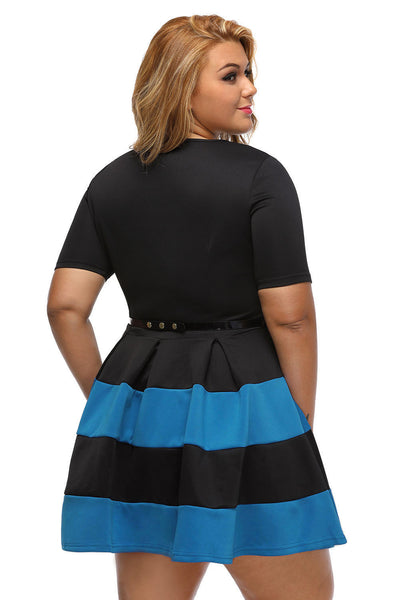Her BIG'n'TRENDY Apricot Bio Color Stripes Plus Size Skater Dress