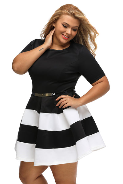 Her BIG n TRENDY Apricot Bio Color Stripes Plus Size Skater Dress ... deecf8a38